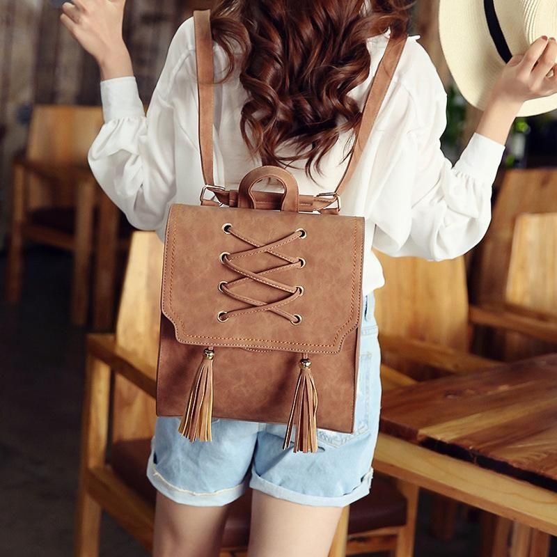 Bag female new fashion backpack tassel handbag NHPB172719