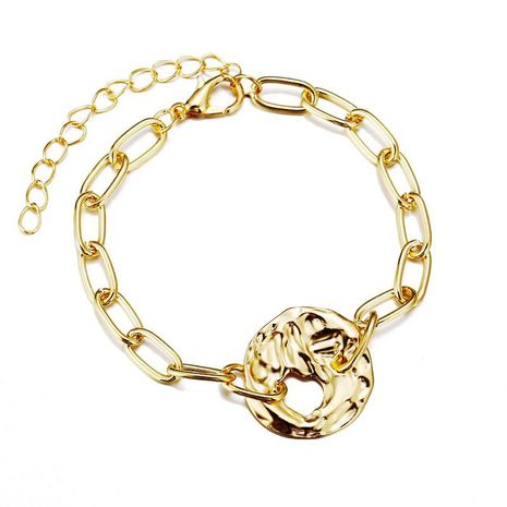 Stylish geometric cutout gold metal bracelet NHPJ173068's discount tags