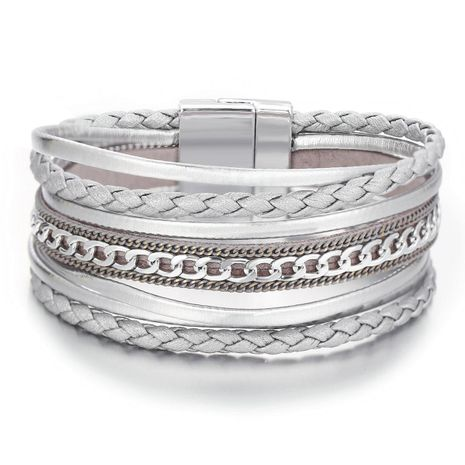 Creative retro simple artificial braided magnetic buckle silver chain bracelet NHPJ173099's discount tags
