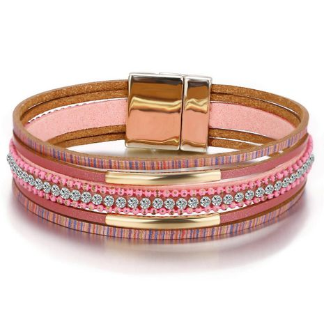 Creative retro simple pink diamond-encrusted faux leather magnetic buckle leather bracelet NHPJ173102's discount tags