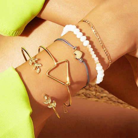 Europe and the United States cross-border new geometric love leaves bracelet set 5 piece set of creative retro simple rice beads bracelet NHPJ173109's discount tags