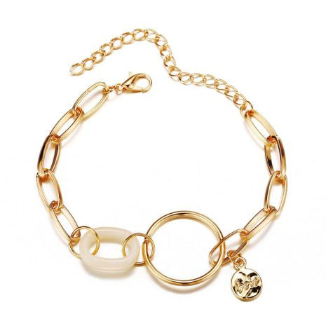 Creative Retro Simple Geometric Acrylic Circle Metal Bracelet NHPJ173113's discount tags