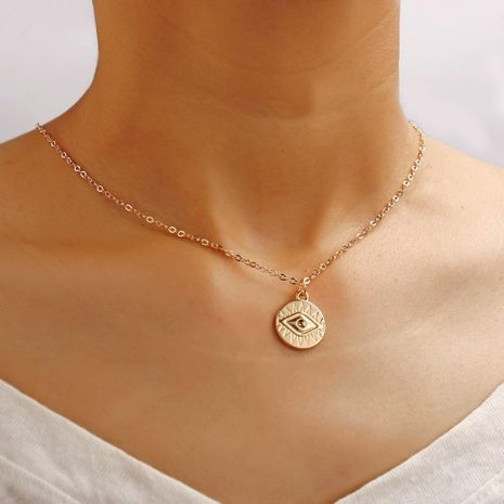 Creative retro simple clavicle chain eye gold necklace NHPJ173094's discount tags