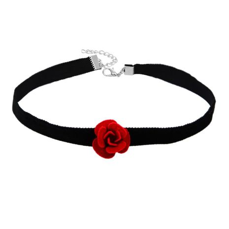European and American simple fashion velvet red rose clavicle necklace NHBQ173119's discount tags