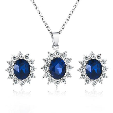 Fashion Set Jewelry Sun Flower Zircon Ear Sapphire Necklace Pendant NHDP172915's discount tags