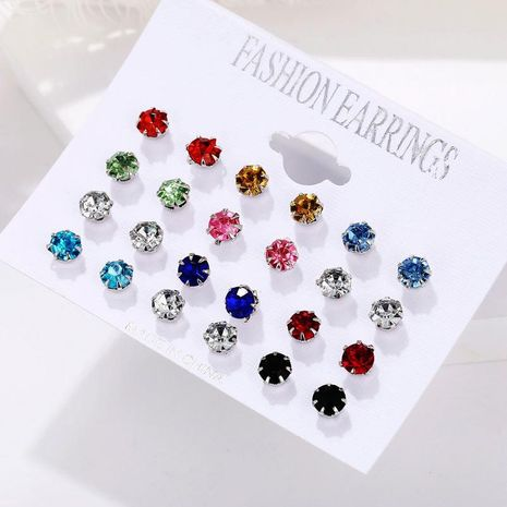 12 pairs of round zircon card earrings NHPJ173064's discount tags