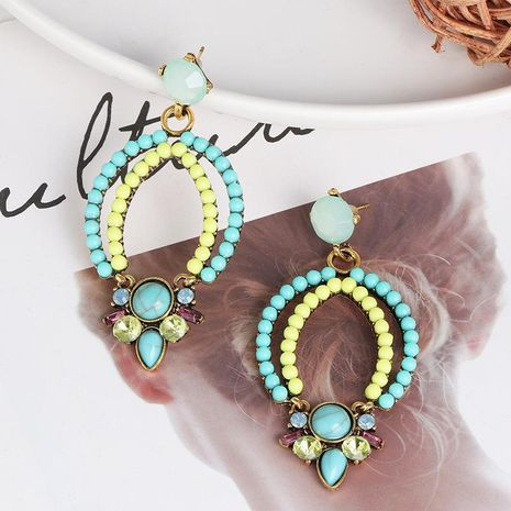 Creative geometric beige beads bohemian female retro earrings NHJJ173055's discount tags