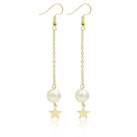 Ear jewelry wrinkle beads stars ear clip long paragraph five-pointed star pendant pearl tassel earrings NHDP172921's discount tags