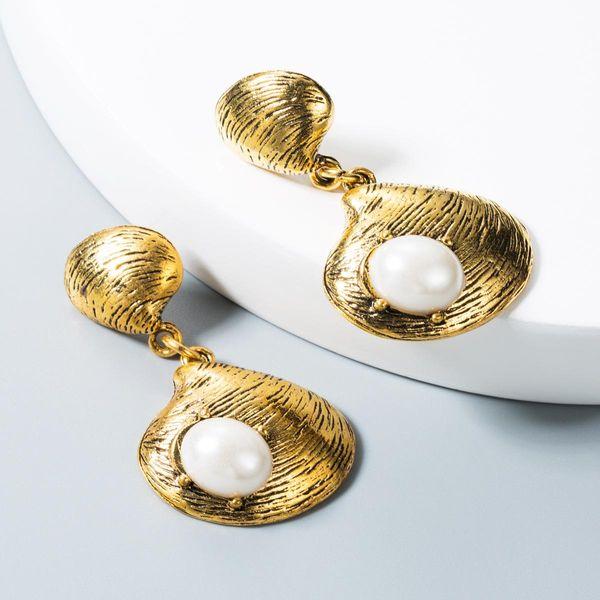 Earrings female pearl shell-shaped bohemian retro tassel earrings NHLN172893