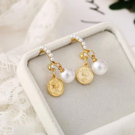 New inlaid pearl earrings creative retro simple metal portrait pearl pendant earrings female NHPJ173076's discount tags