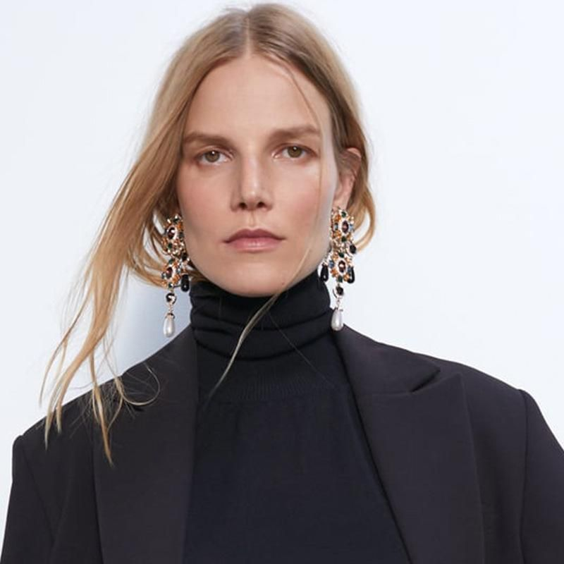 New Baroque Earrings Creative Retro Inlay Colored Rhinestones Pearl Drop Earrings NHPJ173107