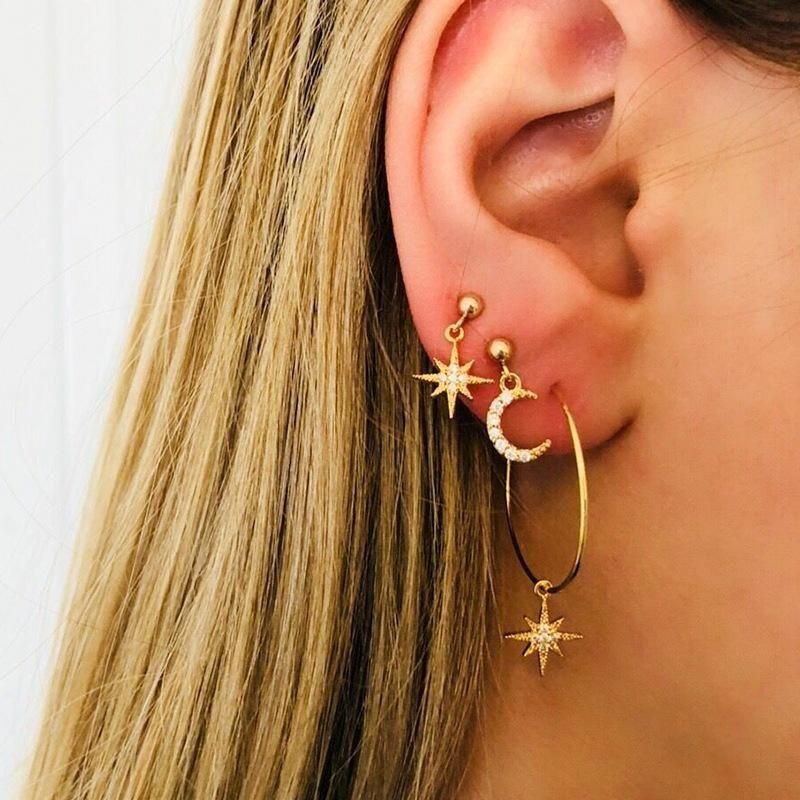 Asymmetrical Star Moon Two Pairs Stud Earrings Fashion Star Moon Long Earrings NHDP172935