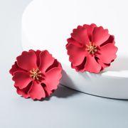 Pendientes de flores de pintura Pendientes de aleación de mujer multicolor. NHLN172907