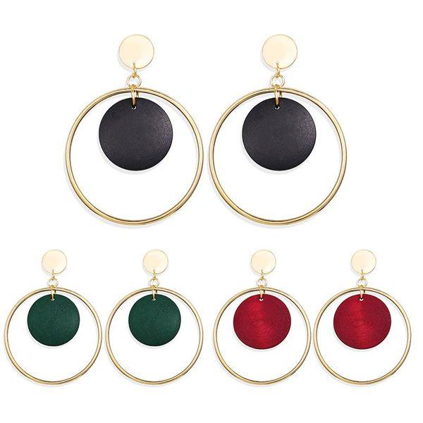 New ear jewelry creative retro simple round wood earrings solid color metal earrings NHPJ173095