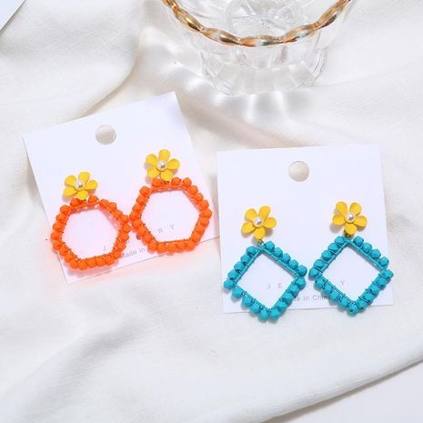 Spray paint flower temperament earrings female ear jewelry long paragraph simple geometric earrings NHKQ173050's discount tags
