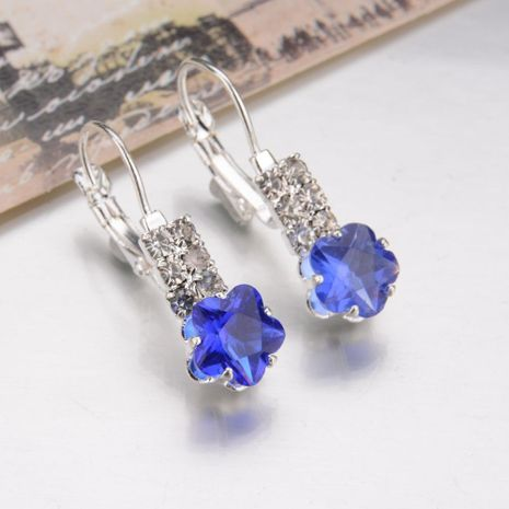 Earrings, flower crystal, four claw drill NHBQ173115's discount tags
