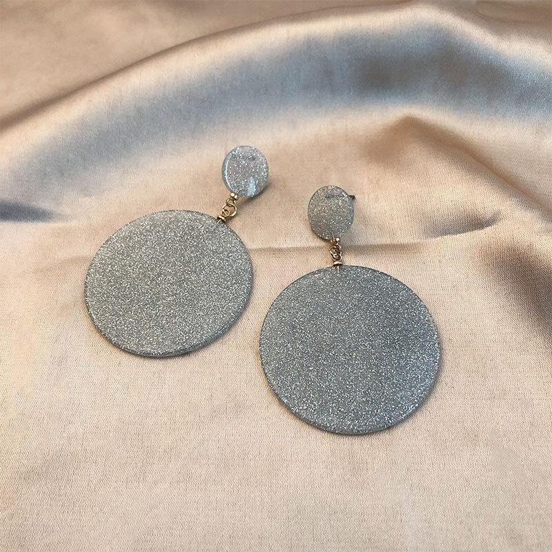 Korea simple circle long temperament geometry wild face thin design earrings NHWF173009