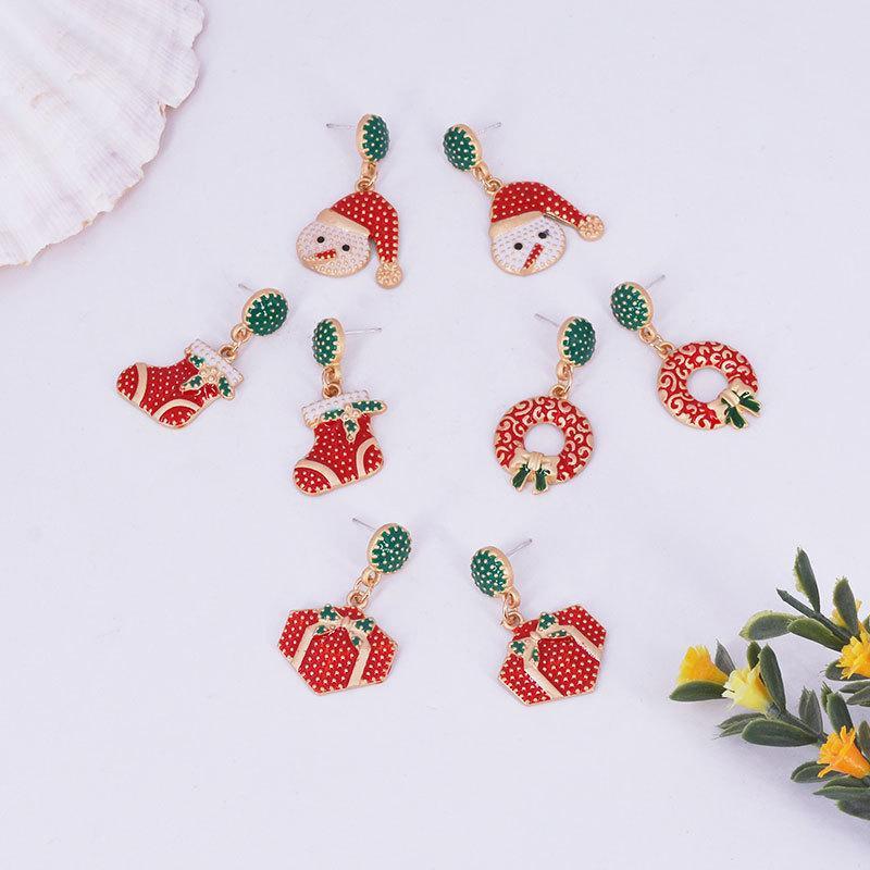 2019 Korea Christmas Series Earrings Geometric Dot Earrings Trend Color Festive New Year Red Ear Stud Earrings NHWF173012