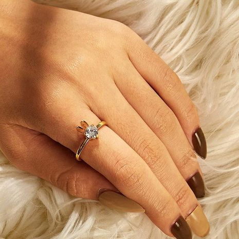 New cute rabbit copper inlaid zircon ring opening adjustable ring NHDP172932's discount tags