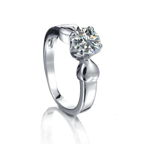 Classic double heart four-jaw zircon ring female NHBQ173122's discount tags