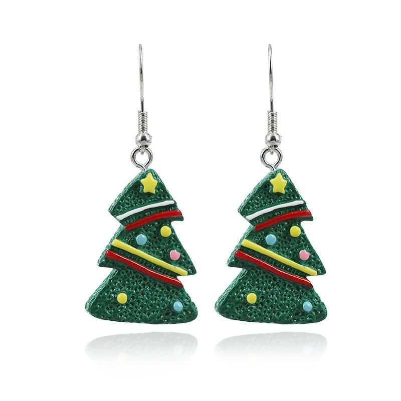New cute cartoon color Christmas tree gift earrings NHKQ172844