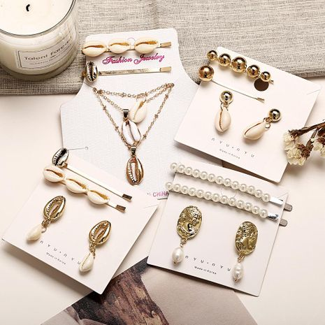 New shell hairpin earrings set creative shell necklace hairpin combination set NHPJ173067's discount tags