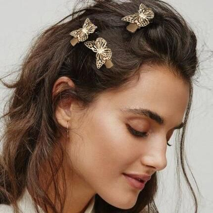 Fashion retro hollow gold butterfly hairpin creative simple side clip female NHPJ173065's discount tags