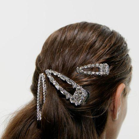 New rhinestone hair clip set simple super flash duckbill clip three-piece NHMD173040's discount tags