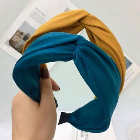 Fine hair accessories headband simple solid color cross knotted wide-brimmed headband female NHRH173155's discount tags