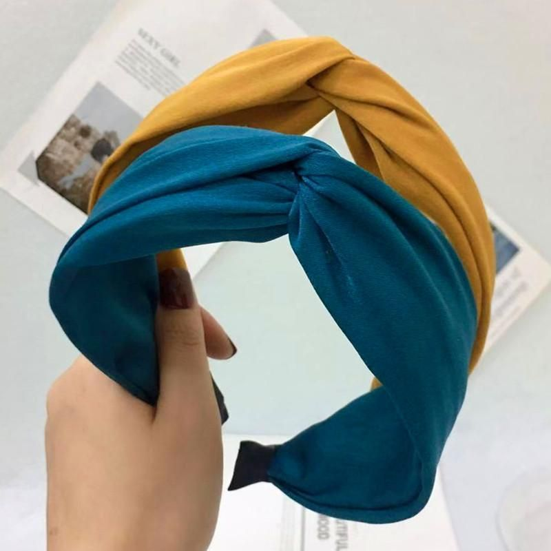 Fine hair accessories headband simple solid color cross knotted wide-brimmed headband female NHRH173155