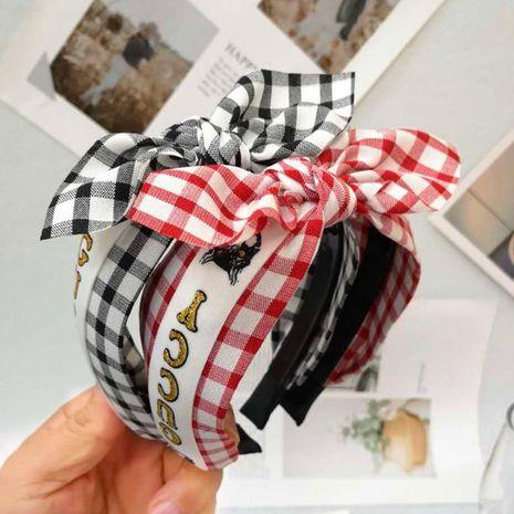 New hair accessories headband plaid bow wide-brimmed headband female NHRH173154's discount tags