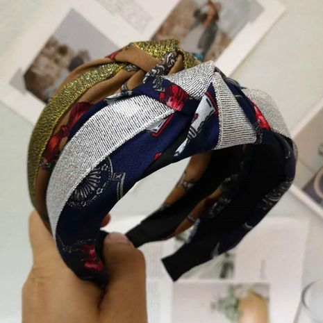 New boutique headband fabric hair accessories gilding contrast color knotted headband NHRH173159's discount tags