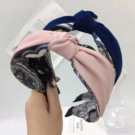 Headband hit color middle knotted hairpin Korean version wide-brimmed non-slip headband hair accessory NHRH173163's discount tags