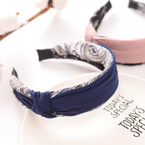 Headband new hair accessories floral side knot knotted knot color wide side headband simple head buckle NHRH173161's discount tags