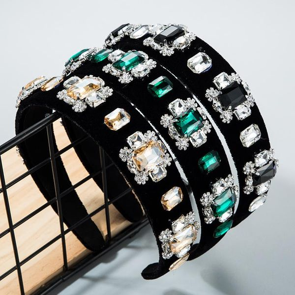 Trend multi-layer glass drill inlaid rhinestone flower gold velvet headband female green wide-brimmed headband NHLN172896