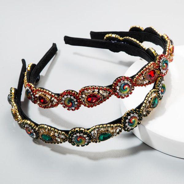 Juego de corte retro barroco europeo y americano con aro de taladro femenino Navidad lado fino mostrar diamantes de imitación de moda diadema NHLN172897