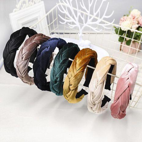 Velvet fabric tweezers headband Korean creative twist headband hairpin NHDM173124's discount tags
