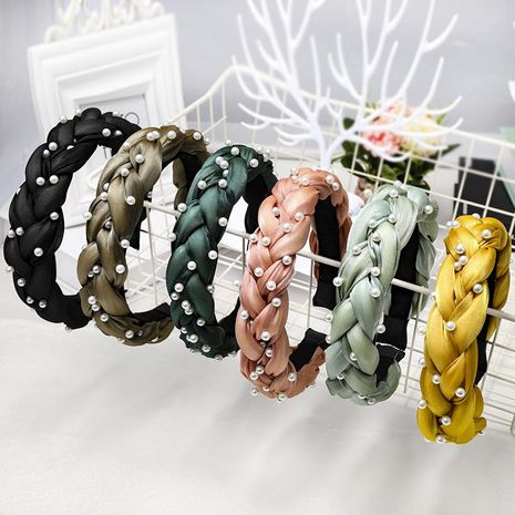 New high-end boutique hair accessories Korean version of the handmade nails pearl twist braid headband NHDM173125's discount tags