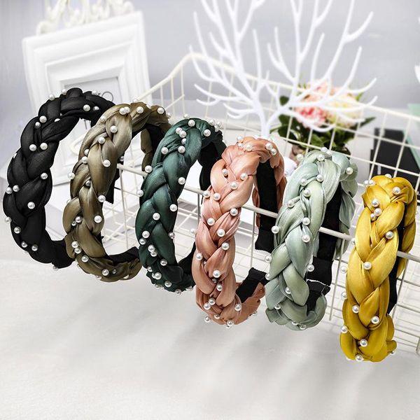 New high-end boutique hair accessories Korean version of the handmade nails pearl twist braid headband NHDM173125