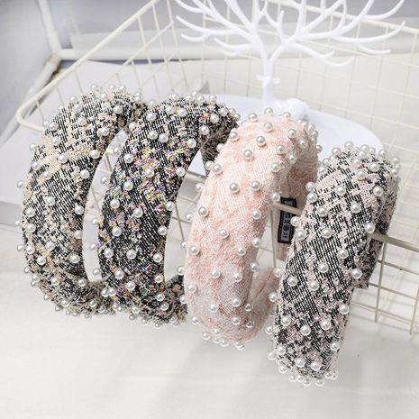 Europe and the United States material nails pearl sponge headband fashion small fragrance headwear NHDM173128's discount tags