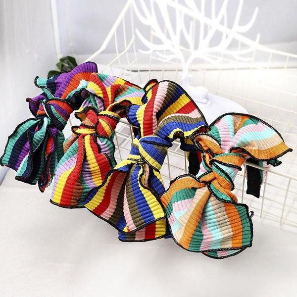 Rainbow Striped Headband Knit Headband Bow Hairpin Romantic Headwear NHDM173132