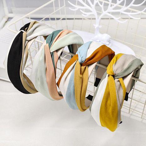 Rainbow cross headband small fresh fabric striped headband NHDM173133's discount tags