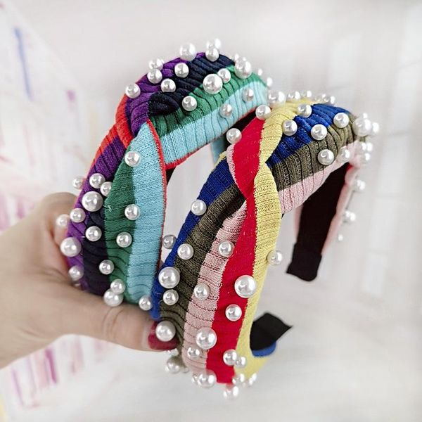 Simple wild rainbow pearl hairpin stripe knit wool wide wash headband NHDM173138