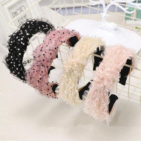 Lace silk gauze cloth headband small fresh wave dot floral knot wide side headband NHDM173141's discount tags