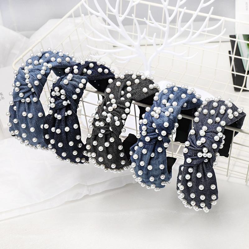 Cross-border Korea Dongdaemun headband popular playful new denim fabric knotted nails headband NHDM173146