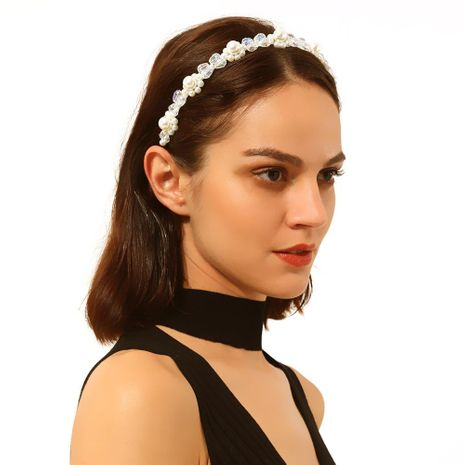 Headband hair accessories new handmade beaded imitation pearl crystal flowers NHMD173039's discount tags