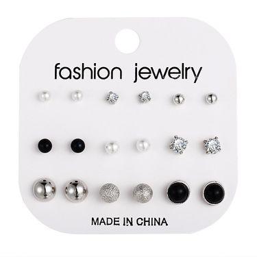 Faux Pearl Black Resin Earrings Nhpj173071