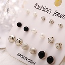 Creative retro minimalist faux pearl black resin earrings NHPJ173071