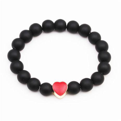 Bracelet en pierre naturelle coeur rouge perlé 10mm naturel mat noir mat bracelet NHYL173437's discount tags