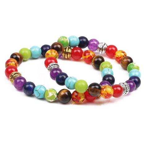 Bracelet de yoga en énergie de pierre naturelle Chakra coloré Agate colorée Oeil de tigre 8mm Bracelet Bracelet NHYL173500's discount tags